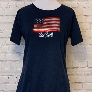 USA 🇺🇸 Sequins Navy Blue T Shirt